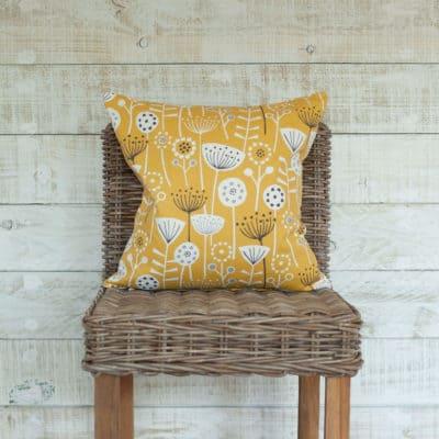 Geometric Scandi Floral Cushion in Yellow
