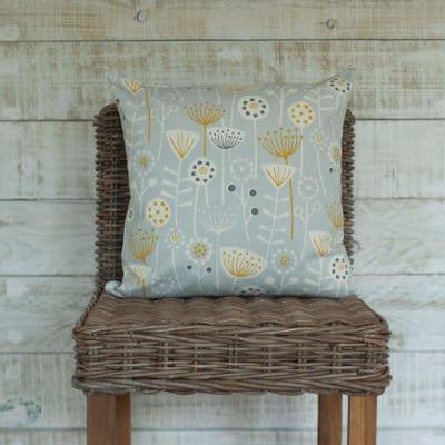 Geometric Scandi Floral Cushion in Grey