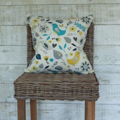 Teal Scandi Botanical Birds Cushion