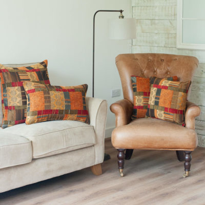 Moroccan Patchwork Cushion in Terracotta