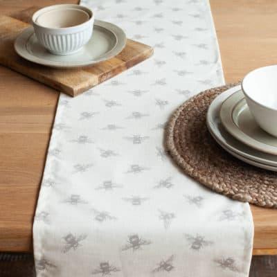 Grey Bumblebee Print Table Runner