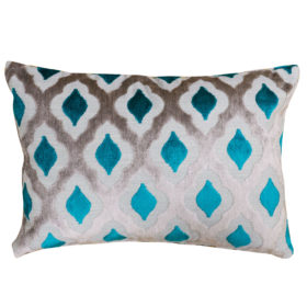 Aphrodite Cut Velvet Boudoir Cushion in Lapis