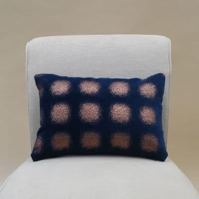 Zaffiro Metallic Chenille Boudoir Cushion in Indigo Copper