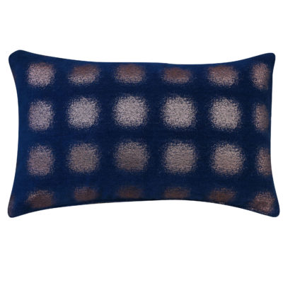 Zaffiro Metallic Chenille XL Rectangular Cushion in Indigo Copper