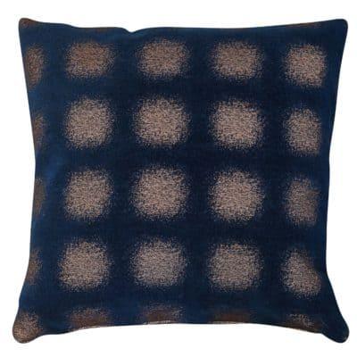 Zaffiro Metallic Chenille Cushion in Indigo Copper
