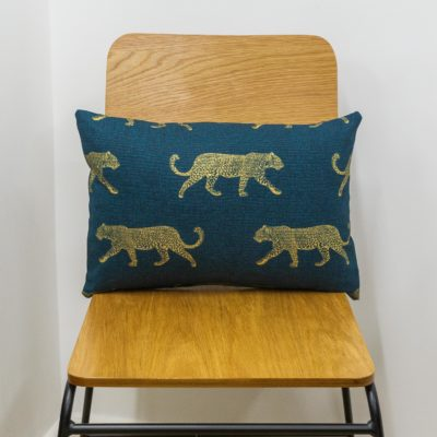 Leopard Stroll Boudoir Cushion in Teal and Gold