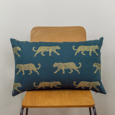 XL Leopard Stroll Rectangular Cushion in Teal and Gold