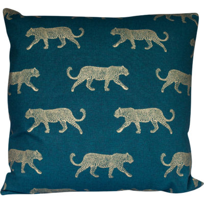 Extra-Large Leopard Stroll Cushion in Teal and Gold