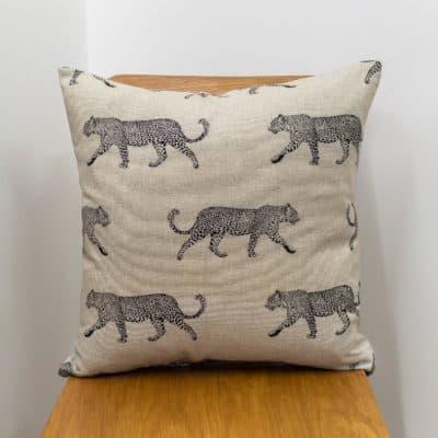 Leopard Stroll Cushion in Tan