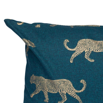 Leopard Stroll Cushion in Teal and Gold