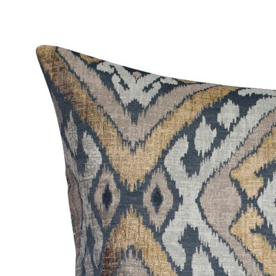 Extra-Large Luxe Ikat Cushion in Black and Gold