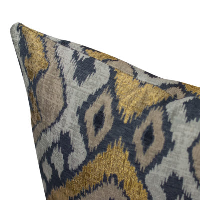 Luxe Ikat Cushion in Black and Gold