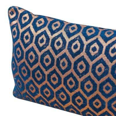 Diamant Metallic Chenille Boudoir Cushion in Indigo Copper