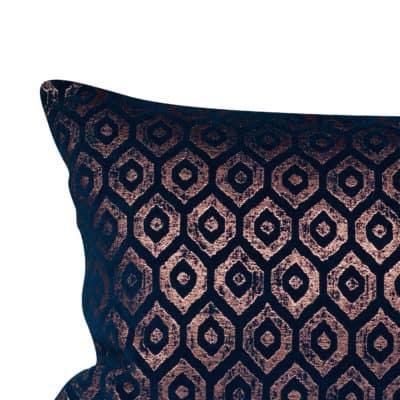 Diamant Metallic Chenille XL Rectangular Cushion in Indigo Copper