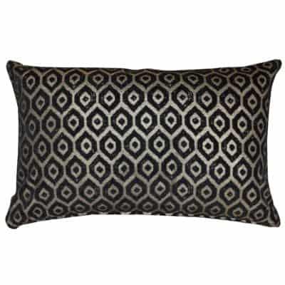 Diamant Metallic Chenille XL Rectangular Cushion in Pewter