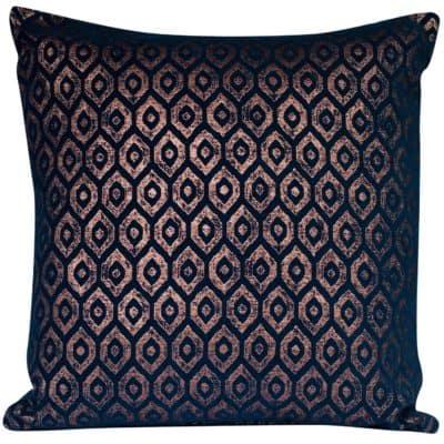 Extra-Large Diamant Metallic Chenille Cushion in Indigo Copper