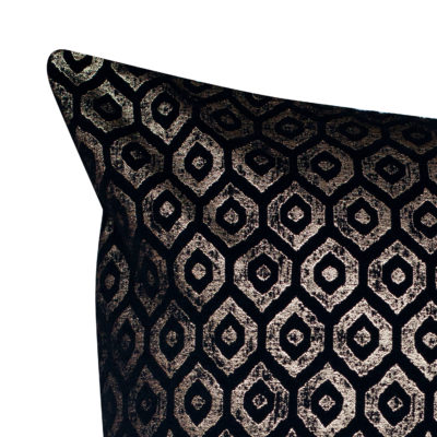 Extra-Large Diamant Metallic Chenille Cushion in Pewter