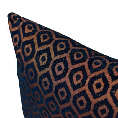 Diamant Metallic Chenille Cushion in Indigo Copper