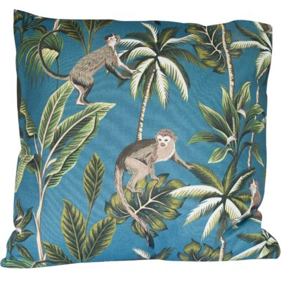 Extra-Large Saimiri Monkey Cushion in Teal