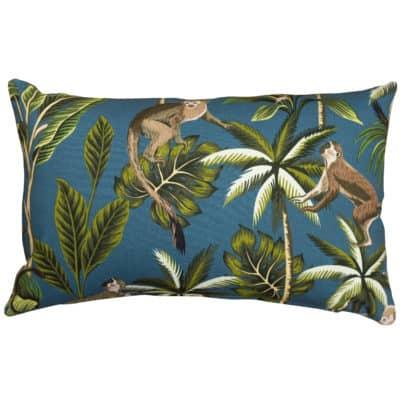 XL Saimiri Monkey Rectangular Cushion in Teal