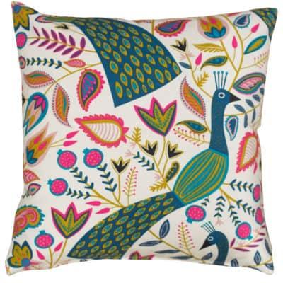 Quirky Peacock Print Cushion