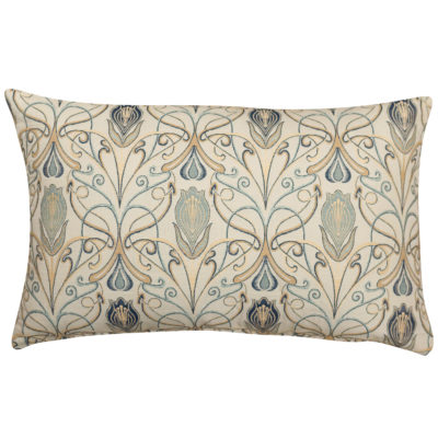 Millefleur Tapestry Style XL Rectangular Cushion in Sapphire