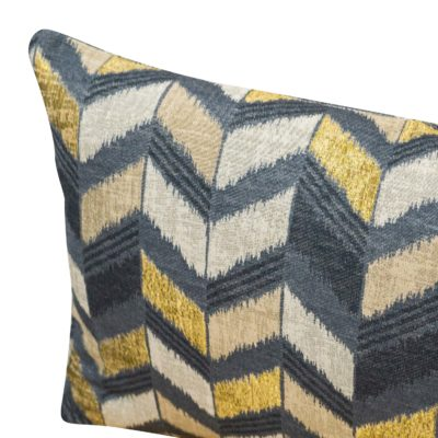 Luxe Chevron Boudoir Cushion in Black and Gold