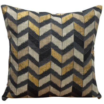 Luxe Chevron Cushion in Black and Gold
