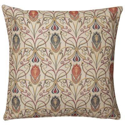 Extra-Large Millefleur Tapestry Style Cushion in Rouge
