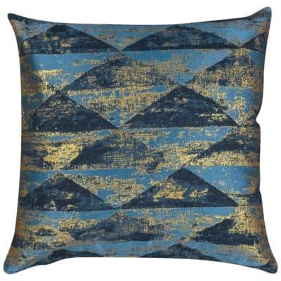 Metallic Pyramid Cushion in Teal and Gold