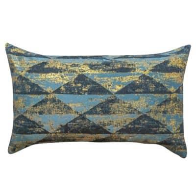 Metallic Pyramid XL Rectangular Cushion in Teal and Gold