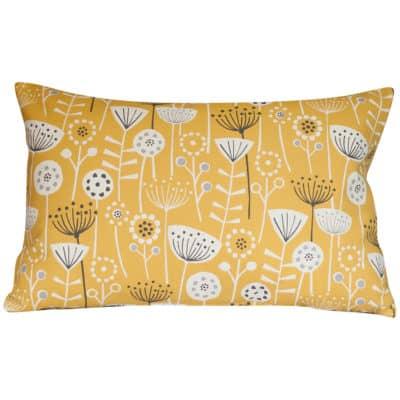 Geometric Scandi Floral XL Rectangular Cushion in Yellow