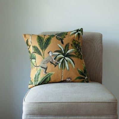 Saimiri Monkey Cushion in Ochre