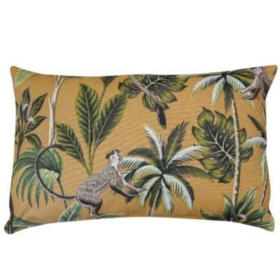 Saimiri Monkey XL Rectangular Cushion in Ochre