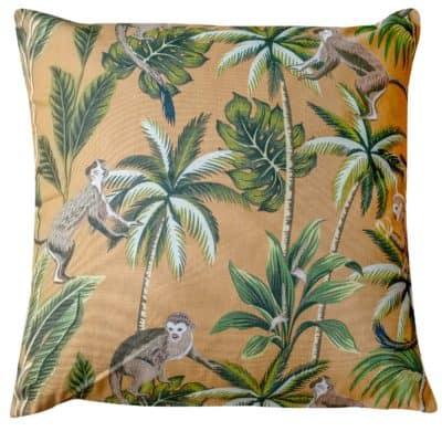 Saimiri Monkey Extra-Large Cushion in Ochre