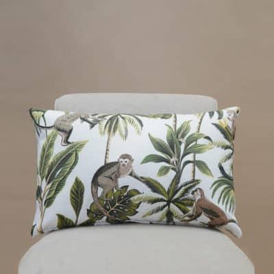 Saimiri Monkey XL Rectangular Cushion in White