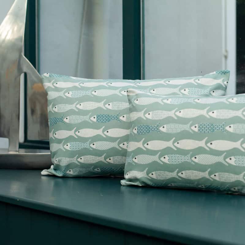 Oceano Fish Print Boudoir Cushion in Bleu