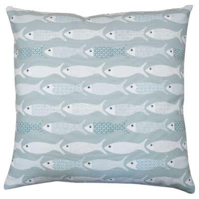 Oceano Fish Print Cushion in Bleu