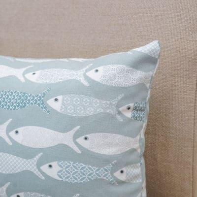 Oceano Fish Print XL Rectangular Cushion in Bleu