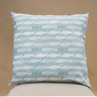 Oceano Fish Print Extra-Large Cushion in Bleu