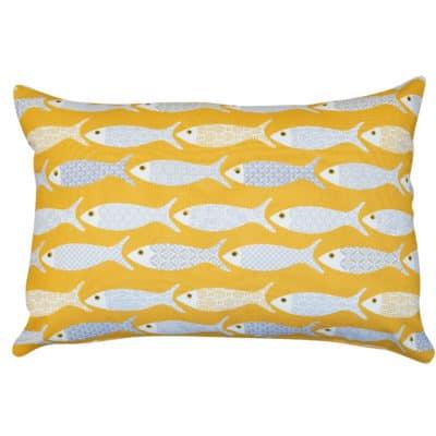 Oceano Fish Print Boudoir Cushion in Ochre Yellow