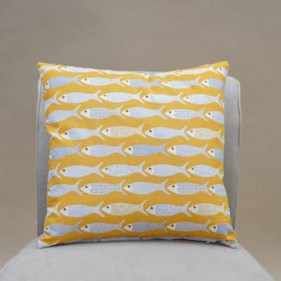 Oceano Fish Print Cushion in Ochre Yellow