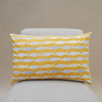 Oceano Fish Print XL Rectangular Cushion in Ochre Yellow
