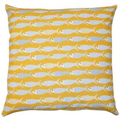 Oceano Fish Print Extra-Large Cushion in Ochre Yellow