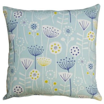 Geometric Scandi Floral Cushion in Duck Egg Blue