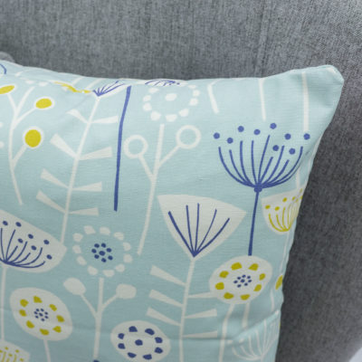 Geometric Scandi Floral Extra-Large Cushion in Duck Egg Blue