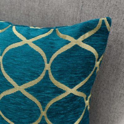 Lattice Chenille Boudoir Cushion in Teal