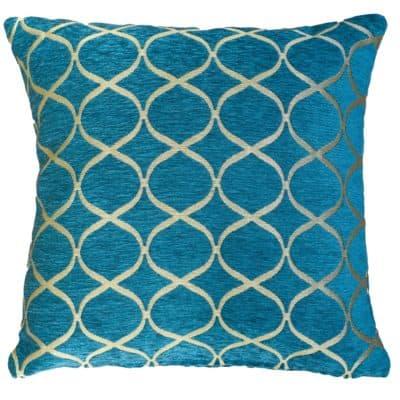 Lattice Chenille Cushion in Teal