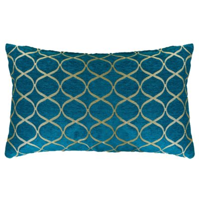 Lattice Chenille XL Rectangular Cushion in Teal