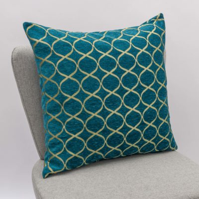Lattice Chenille Extra-Large Cushion in Teal